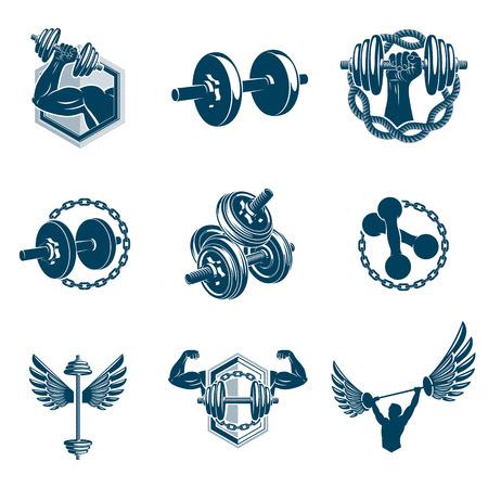 Colección de ilustraciones de tema de levantamiento de pesas vectoriales realizadas con mancuernas, barras y equipos deportivos con pesas de disco. Cuerpo perfecto de hombre fuerte.