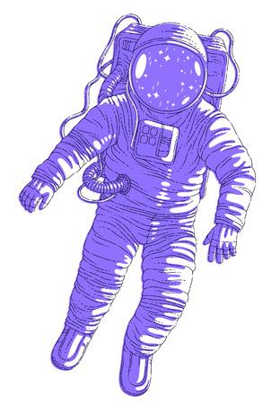 Astronaut im Raumanzug, der in der Schwerelosigkeit schwebt, Raumfahrer im offenen Raum realistische Vektorillustration lokalisiert über weißem Hintergrund.
