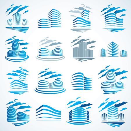 Ensemble de conception de vecteur pour le bureau financier des bâtiments de la ville. Collection d'illustrations d'architecture futuriste. Conceptions de centres de bureaux immobiliers. Façades futuristes 3D dans la grande ville. Peut être utilisé comme logos ou icônes.