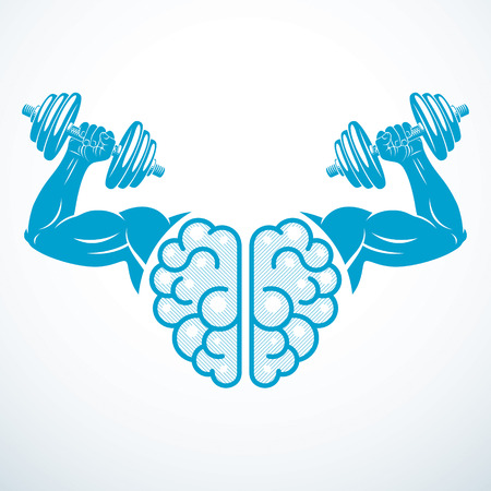 Brain with strong bicep hands of bodybuilder. Power Brain emblem, genius concept.  Brain training, grow IQ, mental health. Vector design.