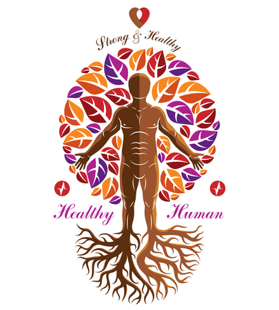 Vector illustration of athletic man depicted as continuation of tree. Strong heart is good health, wellness center abstraction. Illustration