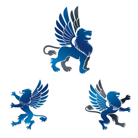 Winged Lion ancient emblems elements set. Heraldic vector design elements collection. Retro style label, heraldry logo.