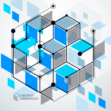 Abstract creative geometric art with a variety of geometric elements blue background, vector illustration. Perspective blueprint of mechanism, scheme. Perfect background for your design projects