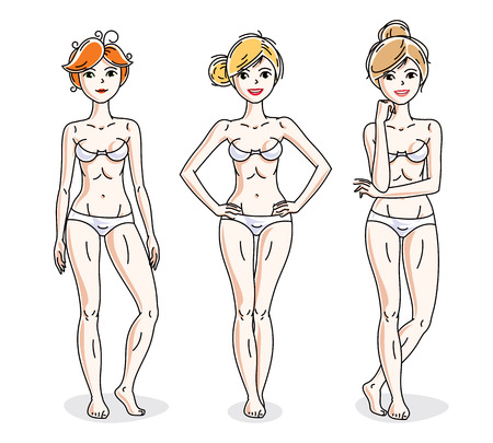 Mujeres jóvenes lindas felices en ropa interior blanca. Conjunto de caracteres vectoriales.
