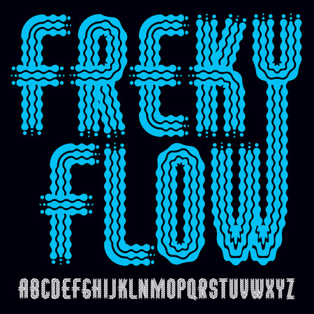 Vector funky upper case English alphabet letters collection. Rounded bold condensed type font, script from a to z can be used in retro poster design. Created using waves, flowing lines. Çizim