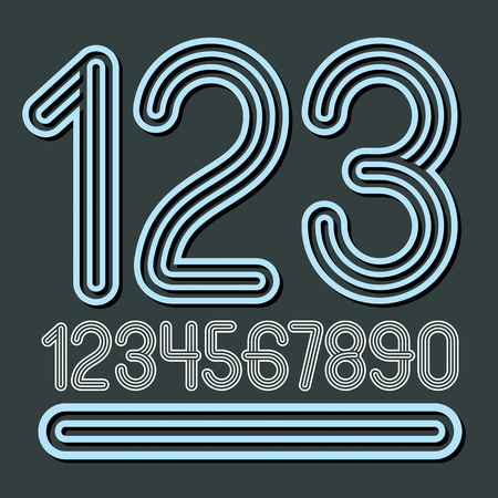 Set of stylish disco vector digits, modern numerals collection. Funky numerals from 0 to 9 best for use in poster art. Created using geometric triple stripes. Illustration