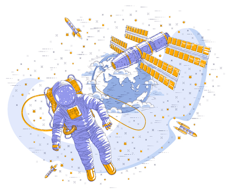 Spaceman flying open space connected to space station and earth planet in background, astronaut man or woman in spacesuit floating in weightlessness and spacecraft, stars and other elements. Vector.