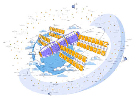 Space station flying orbital spaceflight around earth, spacecraft spaceship with solar panels, artificial satellite, surrounded by stars and other elements. Thin line 3d vector illustration.
