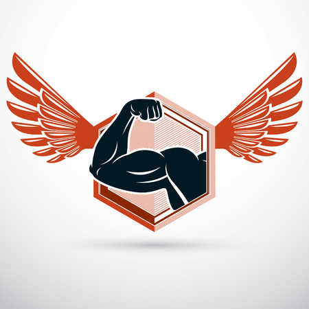 Bodybuilder muscular biceps arm composed with wings. Weight lifting vector illustration. Ilustração