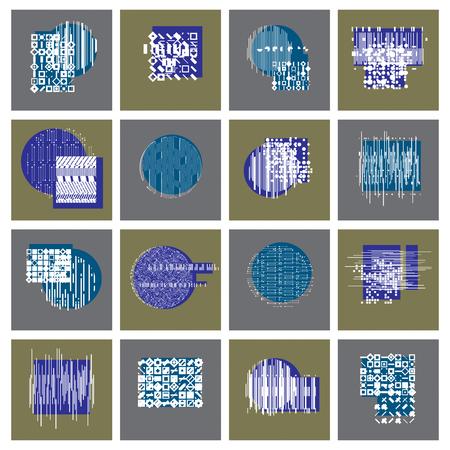Abstract geometric compositions set, vector backgrounds collection. Illusztráció