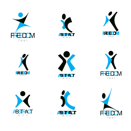 Vector illustration of excited abstract person with raised hands up. Liberty conceptual logo.