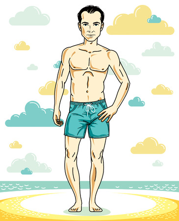 Handsome young man standing on tropical beach in bright shorts. Vector athletic male illustration. Summer vacation lifestyle theme cartoon.