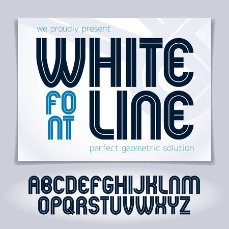 Vector upper case rounded alphabet letters made with white lines, best for use in logotype design in telecommunication theme Illustration