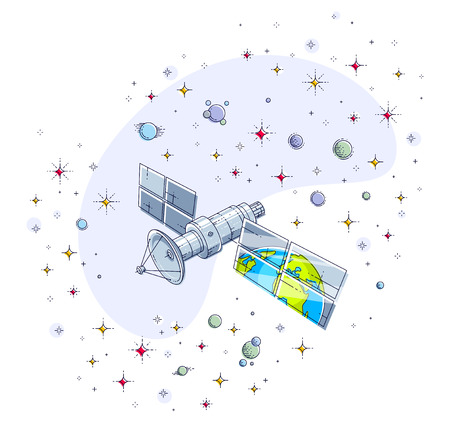 Global communication technology satellite flying in the starry space sky and reflecting earth in solar panels. Thin line 3d vector illustration isolated on white.