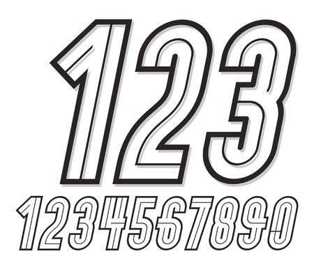 Collection de grands nombres italiques rétro à la mode, numérotation vectorielle, à utiliser comme éléments de conception d'affiche vintage Vecteurs