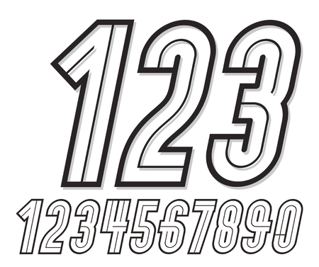 Trendy retro italic tall numbers collection, vector numeration, for use as vintage poster design elements