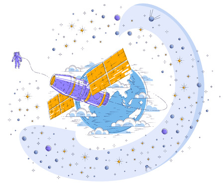 Space station orbiting around earth, spaceflight, spacecraft spaceship with solar panels, artificial satellite, surrounded by stars and other elements. Thin line 3d vector illustration. Illustration