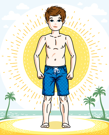 Little boy cute child standing wearing fashionable beach shorts. Vector attractive kid illustration. Childhood lifestyle clipart.