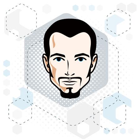 Rostro de hombre, cabeza humana. Personaje de vector con bigotes y barba, hombre moreno guapo.