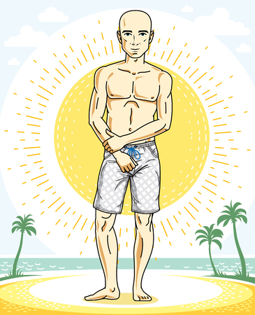 Handsome bald man posing on tropical beach in colorful shorts. Vector character. Summer holidays theme. Ilustração