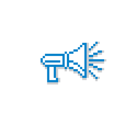 Vector megaphone pixel icon isolated, 8bit graphic element. Simplistic loudspeaker sign, broadcasting and media idea.