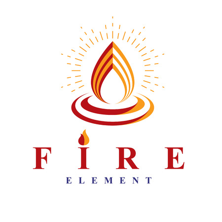 Fire element abstract icon for use as petrol corporate emblem. Oil and gas vector business conceptual symbol. Vettoriali