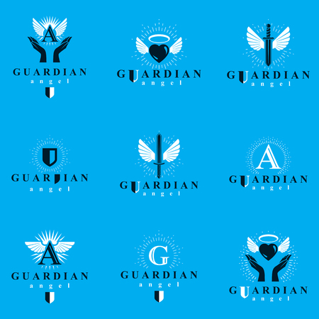 Holy spirit graphic vector icontypes collection, can be used in charity and catechesis organizations. Vector emblems created using battle swords, loving hearts and guardian shields.