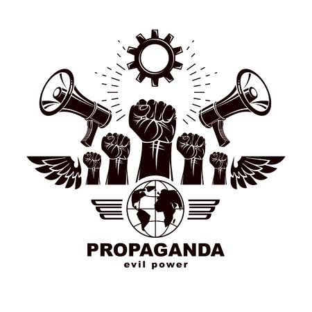 Banner de marketing vectorial compuesto por altavoces, puños cerrados, planeta Tierra y engranajes de la industria. Ilustración abstracta de la guerra civil, concepto sin límites. Poder del mensaje social.