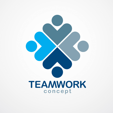 Teamwork businessman unity and cooperation concept created with simple geometric elements as a people crew. Illustration