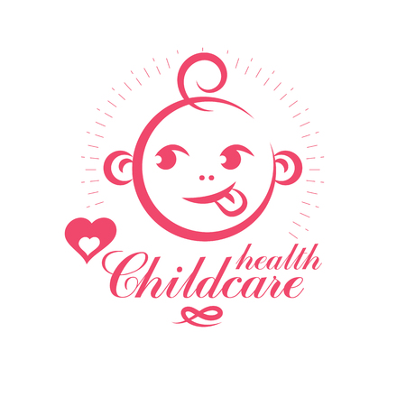 Cute smiling child face vector emblem. Innocent tiny firstborn. New life care conceptual illustration. Medical rehabilitation and childcare center emblem