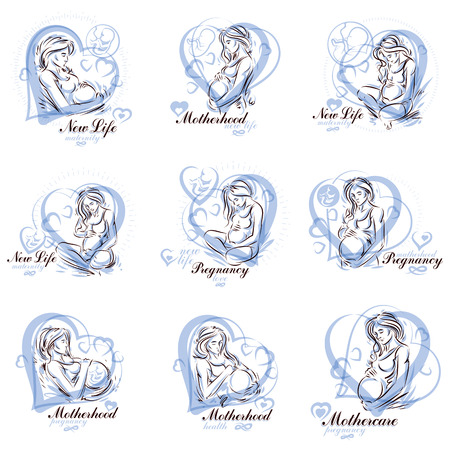 Attractive pregnant woman body silhouette drawings. Vector illustration of mother-to-be fondles her belly. Medical center for pregnancy assistance marketing flyer template