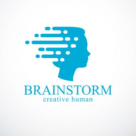 Concepto de lluvia de ideas, diseño vectorial de perfil de cabeza humana con pensamientos que se mueven rápido.