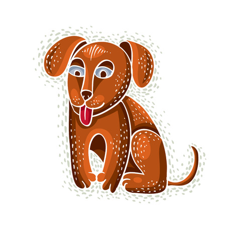 Cute cartoon doodle red golden dog puppy vector illustration, nice pet sitting.