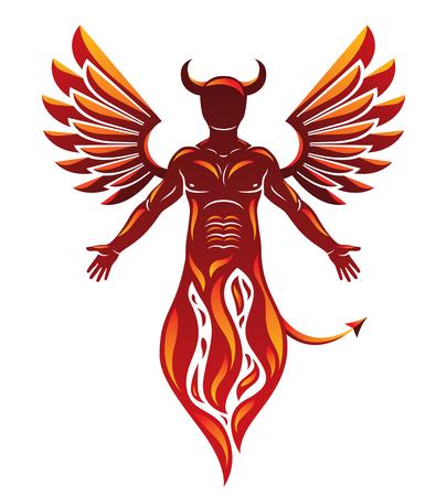 Personaggio vettoriale individuale, mistico realizzato con le ali ed emergente dal fuoco Creatura infernale demoniaca, Lucifero malvagio cornuto.