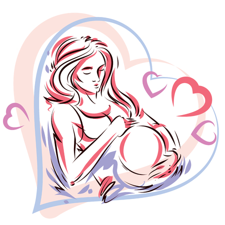 Pregnant woman elegant body silhouette placed in decorative heart shape frame, sketchy vector illustration. Love and gentle feeling concept. Illustration