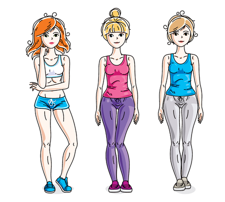 Happy pretty young women standing in stylish sportswear. Vector diversity people illustrations set. Lifestyle theme fem characters.