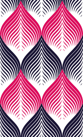 Seamless geometric pattern. Geometric simple fashion fabric print. Vector repeating tile texture. Roof tiling or fish squama shapes motif. Usable for fabric, wallpaper, wrapping, web and print. Red and black  イラスト・ベクター素材