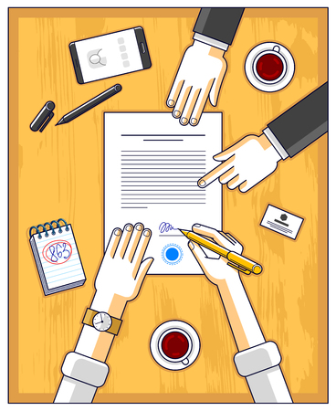 Businessman signs contract paper document or bank customer write a sign on financial form of money credit and employee helps him and explains the terms of loan, top view of people hands. Vector.