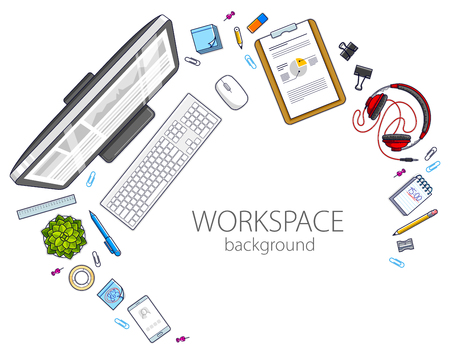 Office desk workspace top view with PC computer and diverse stationery objects for work with copy space for text. All elements are easy to use separately or recompose the illustration. Vector.