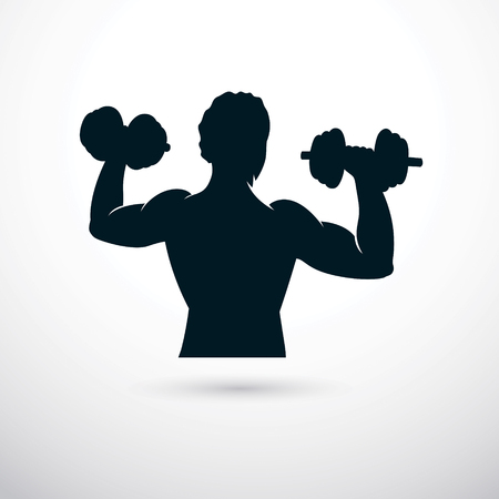 Illustration of athletic sportsman holding dumbbell. Cross fit and fitness workout. Illustration