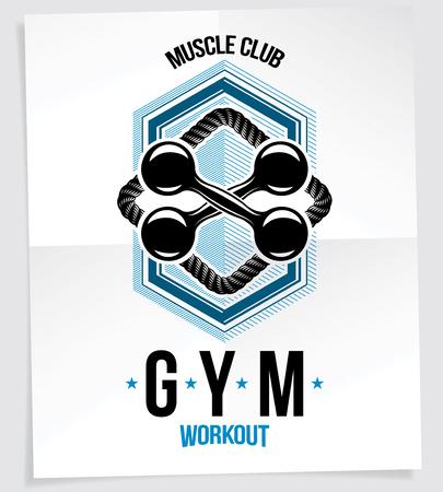 Sport popularization inspirational poster made using fitness dumbbell sport equipment.