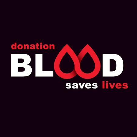 Donare sangue iscrizione isolato su bianco. Salvare l'illustrazione grafica concettuale di vita. Simbolo di cure mediche.