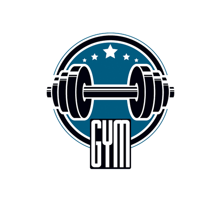 Sport icon for weightlifting gym and fitness club, retro stylized vector emblem or badge.