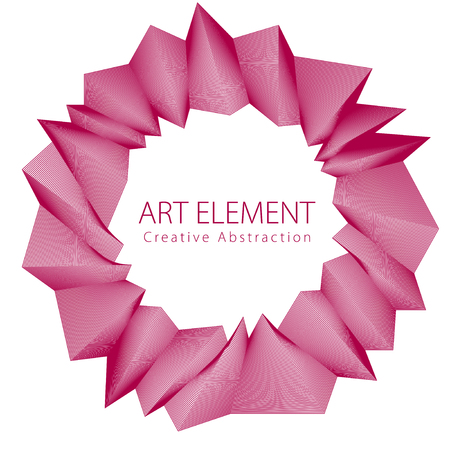 Round artistic frame, vector abstract linear art with copy space for text inside, isolated over white background.
