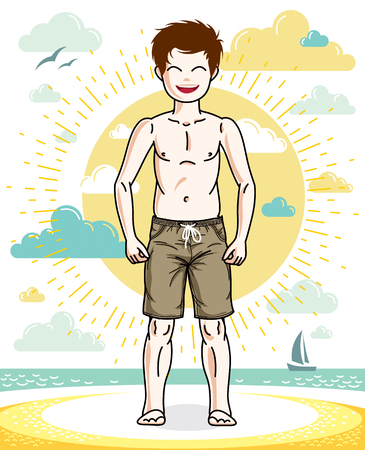 Sweet little boy young teen standing in colorful stylish beach shorts. Vector kid illustration. Fashion and lifestyle theme cartoon. Illustration