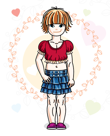 Beautiful happy little red-haired girl in stylish casual clothes posing on colorful backdrop with romantic hearts. Vector illustration of attractive kid.