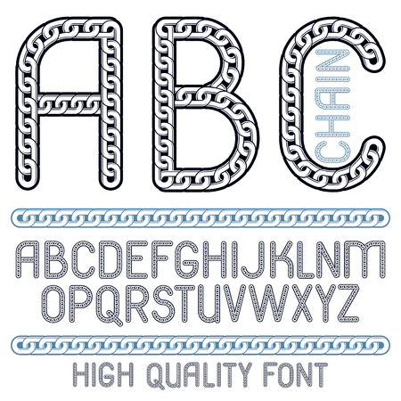 Vector type font, script from a to z. Capital creative letters, abc made with iron chain, linked connection.