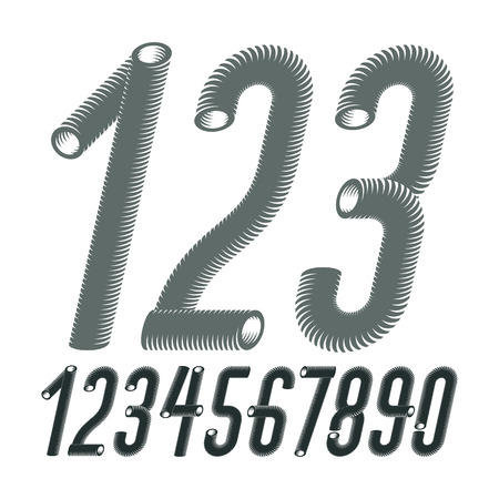 Trendy vector numerals collection. Modern italic condensed, tall, funky numbers from 0 to 9 best for use in poster creation. Made using vacuum cleaner pipeline design. Illustration