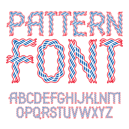 Vector upper case bold English alphabet letters collection created using abstract rhythmic wave lines. Illustration