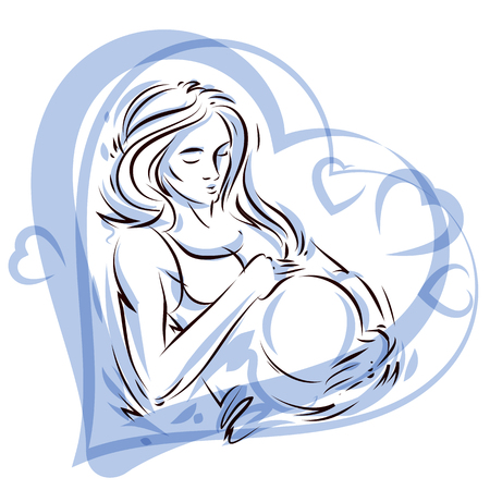 Pregnant female surrounded by heart shape frame hand drawn vector illustration, beautiful lady gently touching her belly. Love and tenderness concept. Vettoriali